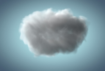 Realistic rainy cloud floating over blue background