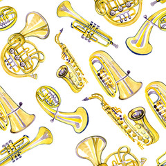 Watercolor copper brass band pattern