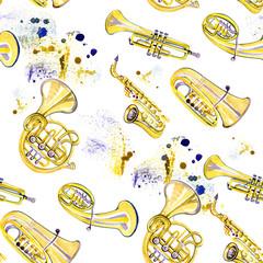 Watercolor copper brass band