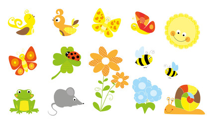 set of cute little creatures and nature elements /spring, summer/ - vectors for children