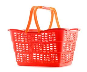 Empty plastic shopping basket isolated on white