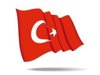 illustration Turkey flag waving Isolated on White Background,vector