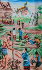 Native Thai mural painting of Rocket festival