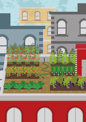 Illustration of urban farming or urban gardening on the roof of the building