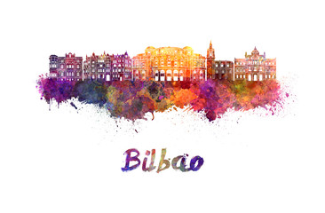 Wall Mural - Bilbao skyline in watercolor