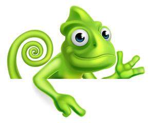 Cartoon Chameleon Pointing