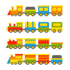Simple Style Color Toy Trains and Wagons Set. Vector