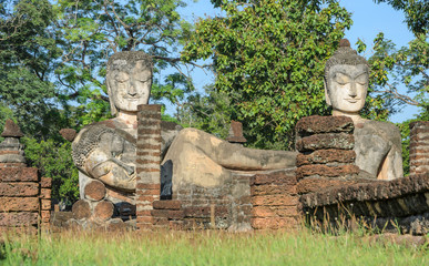Ancient buddha statue in Kamphaeng Phet Historical Park, Thailand. Low angle view image