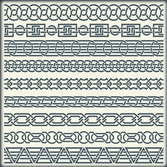 Set of seamless vintage borders in the form of celtic ornament