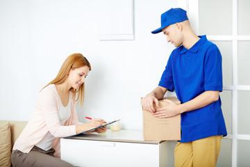 Signing for parcel