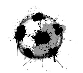 Abstract vector illustration of soccer or football ball with splashes