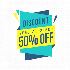 Sale badge, vector in flat design style. Discount special offer badge.