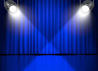 Blue curtains with spotlights