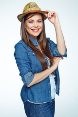Smiling Girl hipster style portrait on white background.