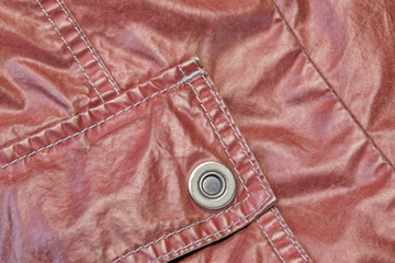 Red Modern Vintage Leather Jacket Fragment With Patch Pocket