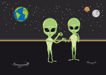 Alien love vector. Funny vector illustration. Alien cartoon character. Aliens under the night sky. Illustration love aliens