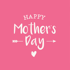 Happy mothers day card, PINK BACKGROUND. Editable logo vector design.