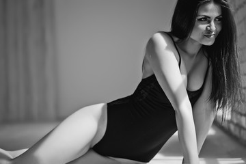 Sexy woman posing, bw