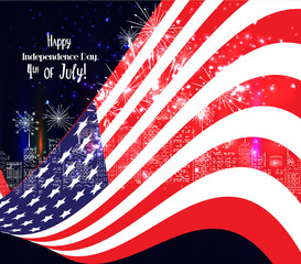 4th of July, American Independence Day celebration background with fireworks