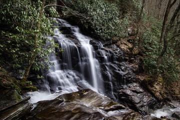 Soco Falls In North Carolina. Beautiful and popular Soco Falls in Maggie Valley, North Carolina.