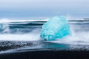 Icebergs at Jokulsarlon glacial lagoon near Vatnajokull National Park, Iceland.