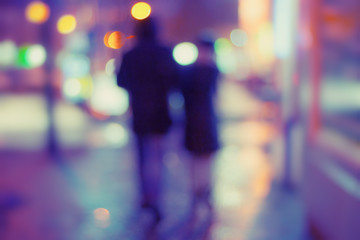 Night Street and silhouettes of people