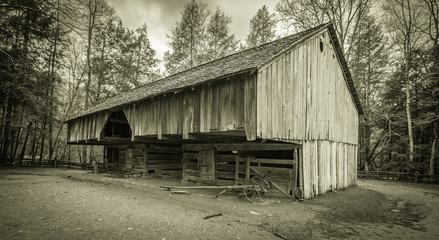 Down On The Farm. 18th century pioneer barn in the Cades Cove area of the Great Smoky Mountains National Park. Gatlinburg, Tennessee.