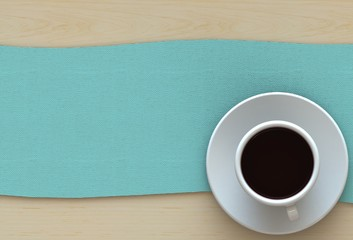 3D rendering coffee cup with blue fabric on wood table