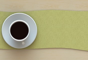 3D rendering coffee cup with yellow fabric on wood table