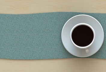 3D rendering coffee cup with fabric on wood table