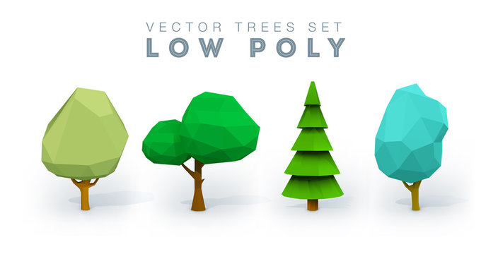 Conceptual polygonal tree. Abstract vector low poly Illustration