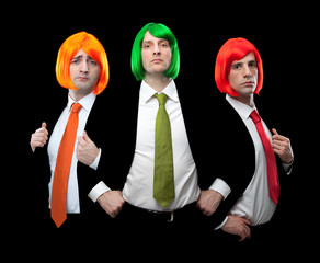group of businessman with multi colored tie and hair wig isolated on black