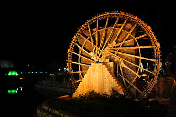 Hama, Syria - October 10, 2010: Hama water-wheel before the war in Syria