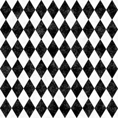 Black and White Grunge Diamond Tile Pattern Repeat Background
