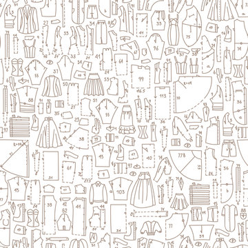 Seamless hand drawn doodle pattern with clothes and sewing patterns. Good for different templates, scrapbooking, package and wrapping paper, etc