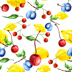 pattern lemon and berry, cherry watercolor