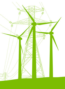 Wind generator and high voltage towers vector background ecology