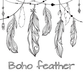 Card with hanging hand drawn feathers  with boho pattern. Tribal doodle background. Vector element for your creativity.