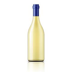 Transparent white wine bottle.