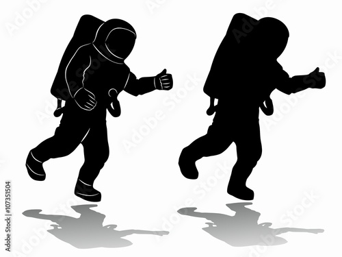 astronaut silhouette vector - photo #1