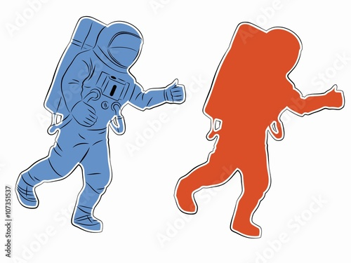 """Silhouette Of Astronaut, Vector Drawing"" Stock Image And"