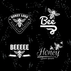 Vector white logo set with bee.