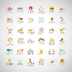 Children Icons Set-Isolated On Gray Background.Vector Illustration,Graphic Design.Kids Notebook,Book,Logo Bulb.Different Fun Logo Games, Playground.Logo Art. Logo Creativity