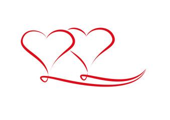 Zwei Verschlungene Herzen Kaufen Sie Diese Vektorgrafik Und Finden