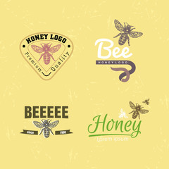 Vector colourful logo set with bee.