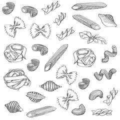 Hand drawn pasta sketch is great design element for italian restaurants and pasta restaurants.