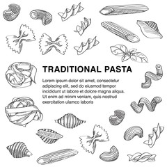 Traditional pasta sketch with copy space in the centre of composition is great design element for italian restaurants and pasta restaurants.