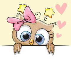 Greeting card cute Owl Girl