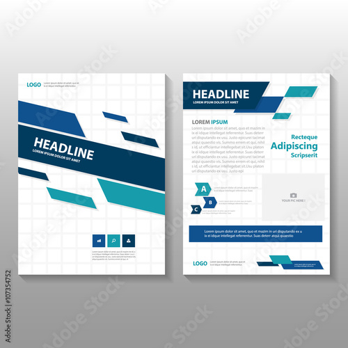 Blue Green Vector Business Proposal Leaflet Brochure Flyer Template