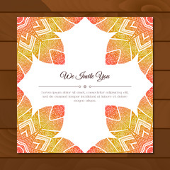 Greeting card with colorful mandala pattern. East Indian style. Beautiful background for card, party or event invitation, flyer, birthday, mother's day, wedding. Vector zentangle illustration.